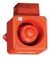 Beacon / Sounder, Industrial, Red, Flashing, Multiple Tones, 110dB, 115VAC, IP65