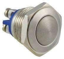 Vandal Resistant Switch, 16 mm, SPST-NO, On-(Off), Round Domed