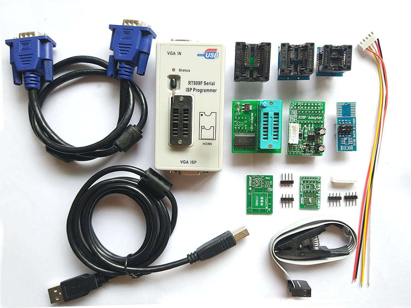 RT809F programmer + 8 Adapters + IC clip clamp +1.8V adapter VGA LCD programmer ICSP board 24 25 93 serise IC