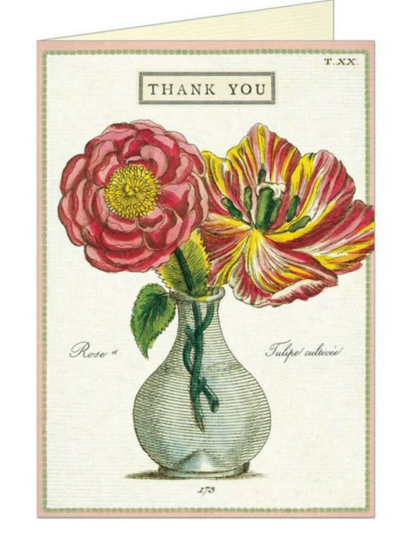 Cavallini & Co. Thank You Fleur 2 Greeting Card & Envelope