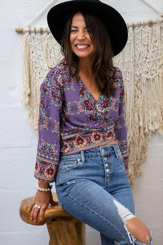 Bahama Wrap Top in Vintage Bloom