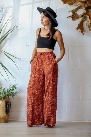 Canyon Wide Leg Trouser in Terracotta