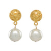 Antiqued Pearl Drop Earrings