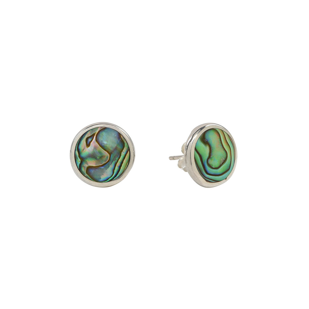 Sterling Silver Abalone Stud Earrings - Large