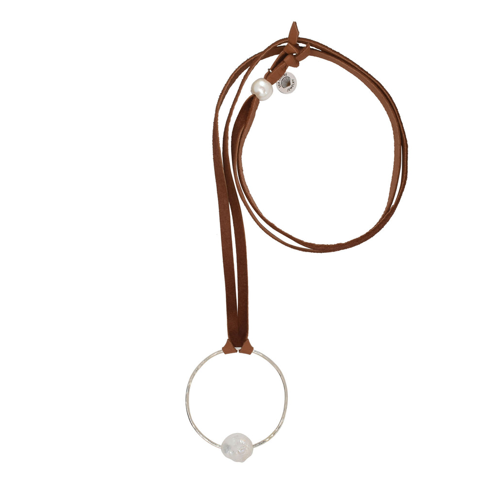 Infinity Leather Necklace in Freshwater Pearl