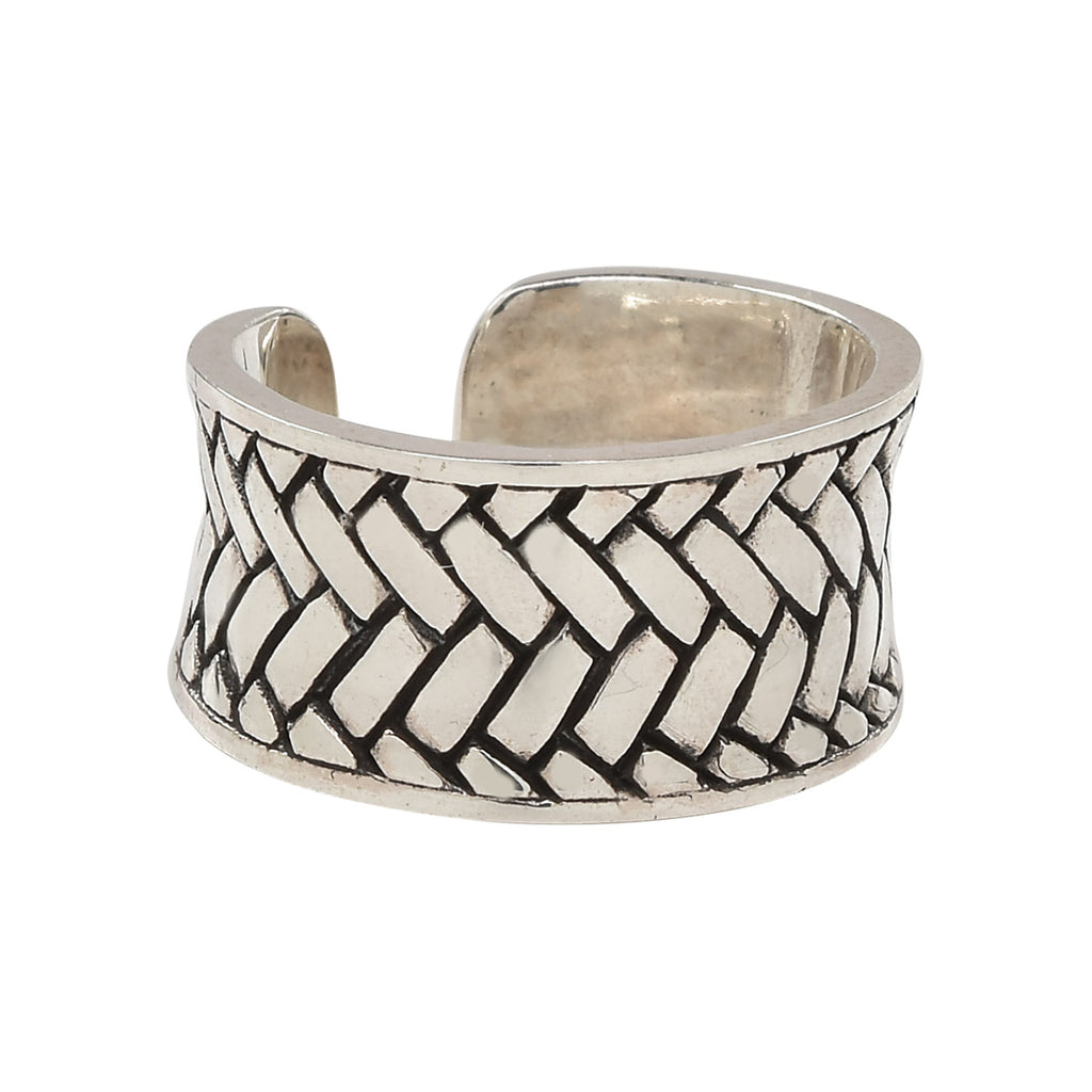 Sterling Woven Herringbone Band