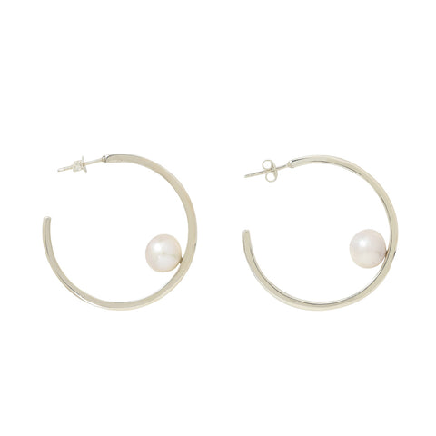 Compass Hoops in Freshwater Pearl