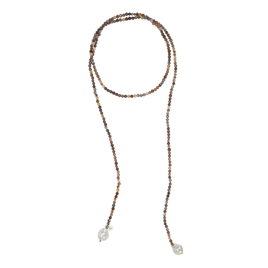 Freshwater Pearl & Multi Color Agate Gemstone Lariat