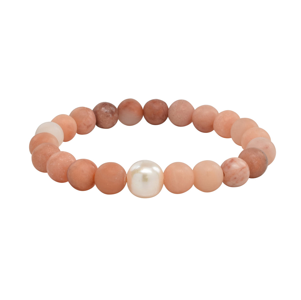 Freshwater Pearl & Matte Orange Agate Stretch Bracelet