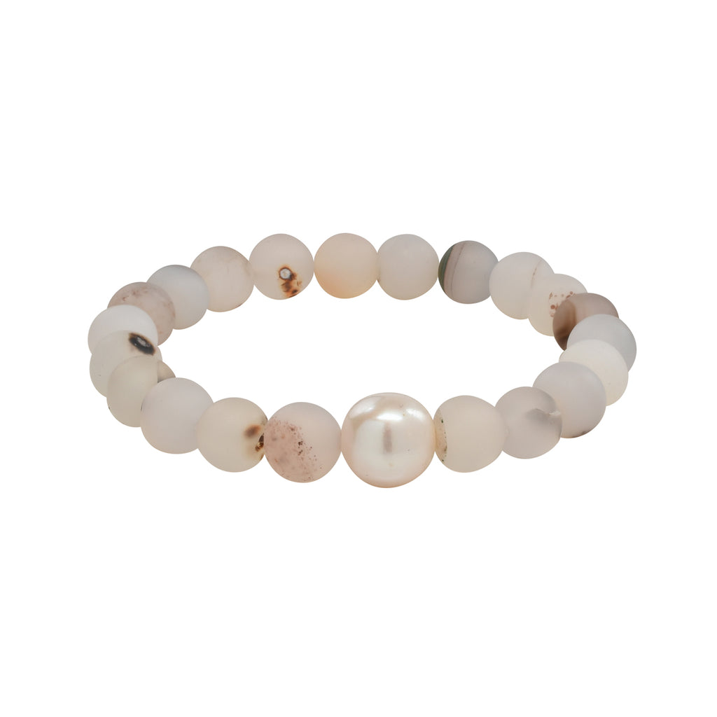 Freshwater Pearl & Matte Transparant Agate Stretch Bracelet