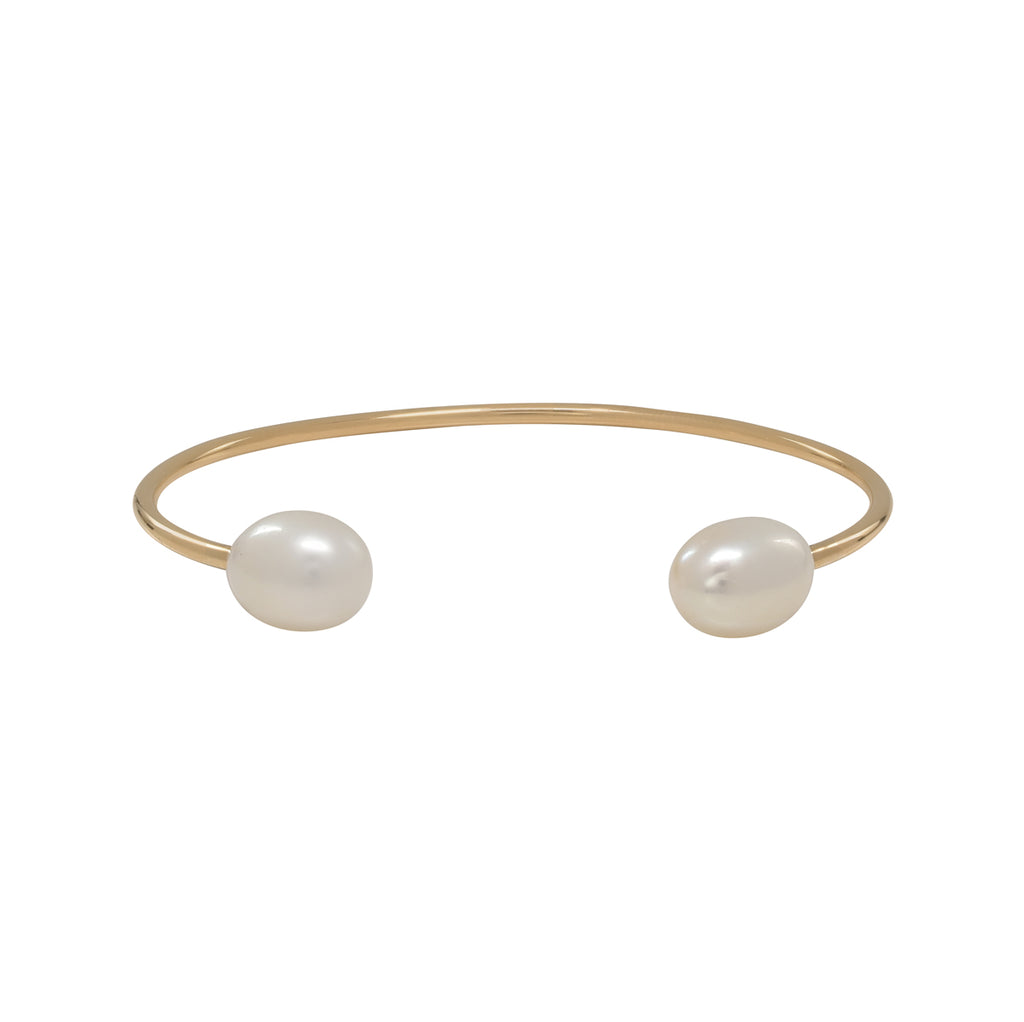 Yellow Gold Freshwater Pearl Cuff