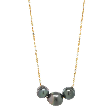 Treasure Island Necklace in Tahitian Pearl Trio