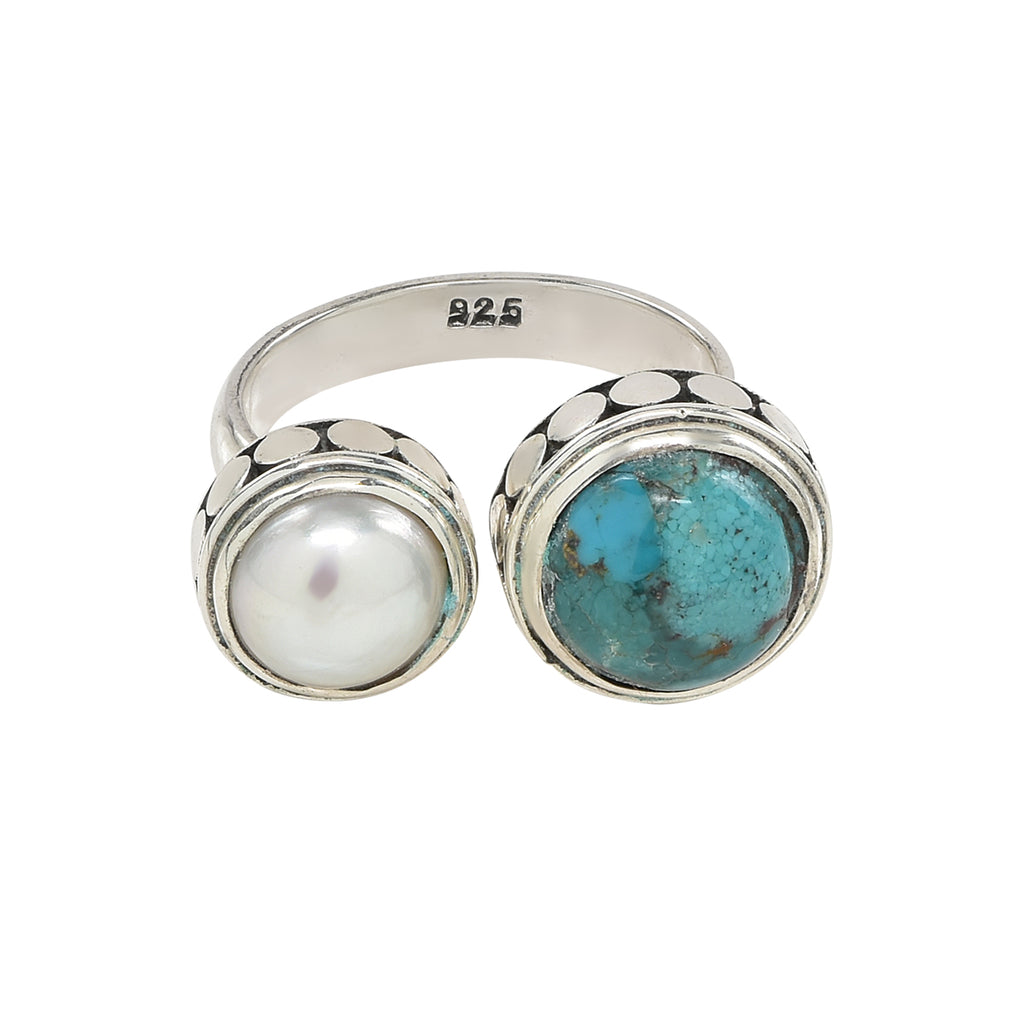 Sterling Pearl and Turquoise Double Ring