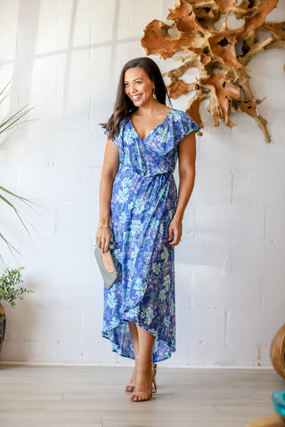 Dalia Wrap Dress in Azure Orchid