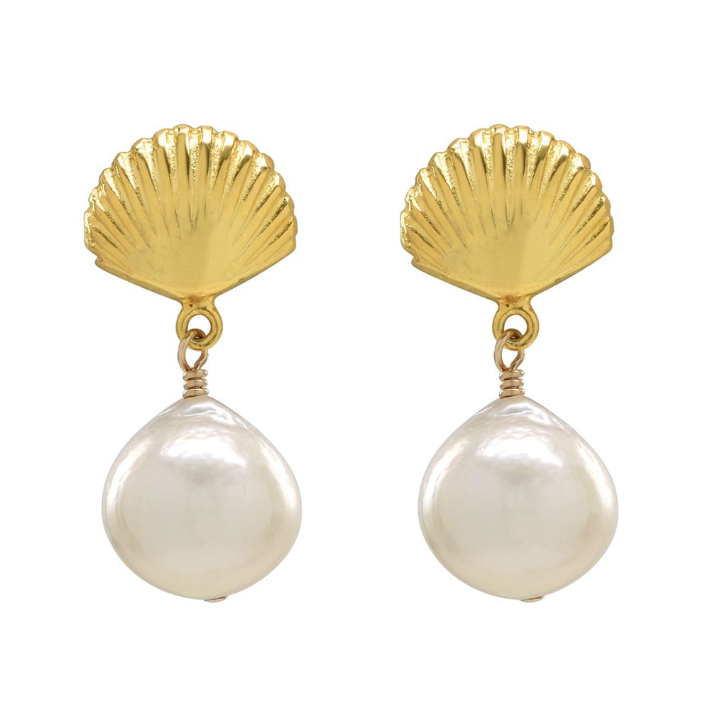 Scallop Shell Pearl Studs
