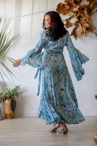 Gilli Kimono Dress in Steele Orchid