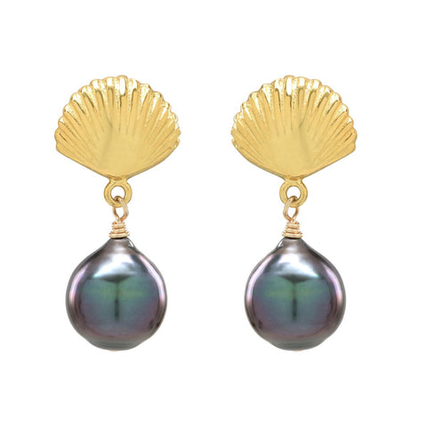 Scallop Shell Tahitian Stud Earrings