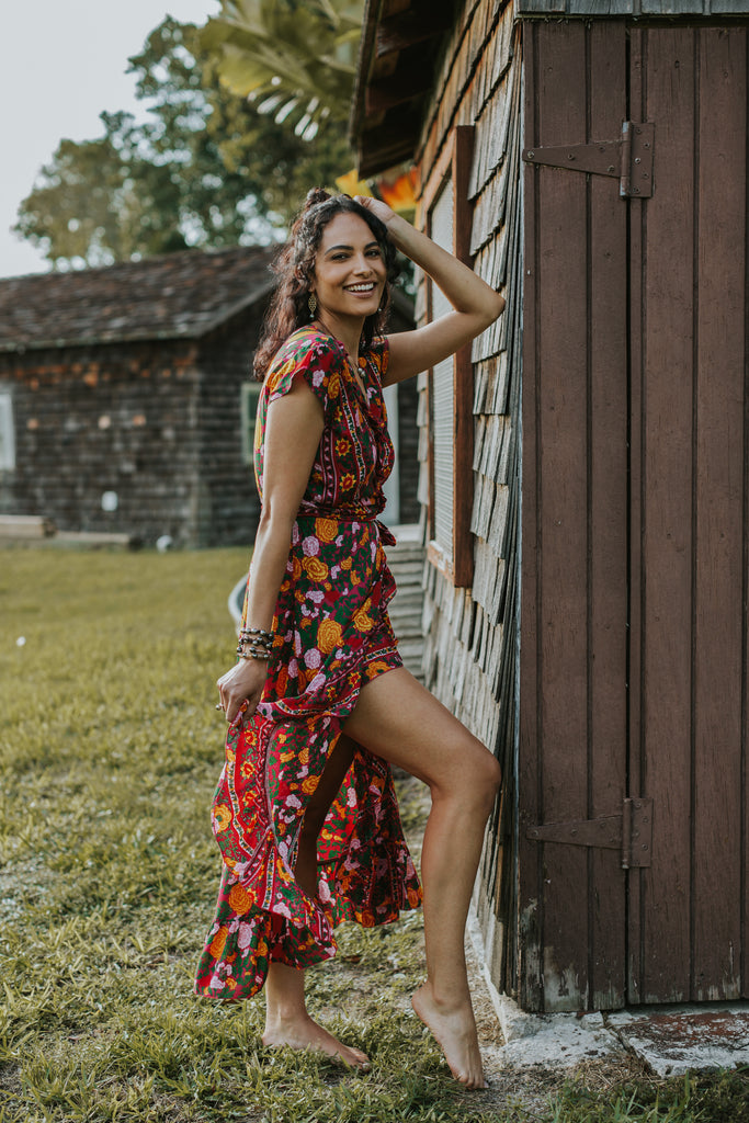 Havana Maxi Wrap Dress in Scarlet Rose