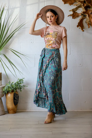 Honey Maxi Wrap Skirt in Sage Garden