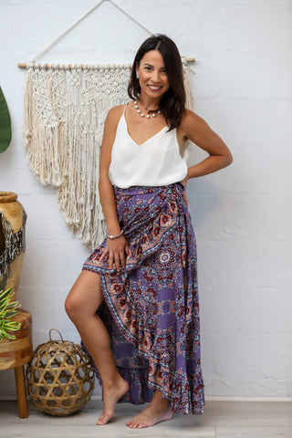 Honey Maxi Wrap Skirt in Vintage Bloom