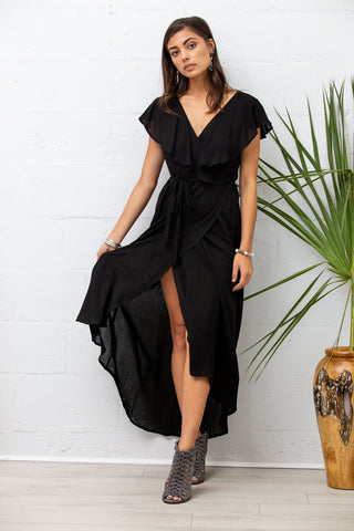 Dalia Wrap Dress in Black