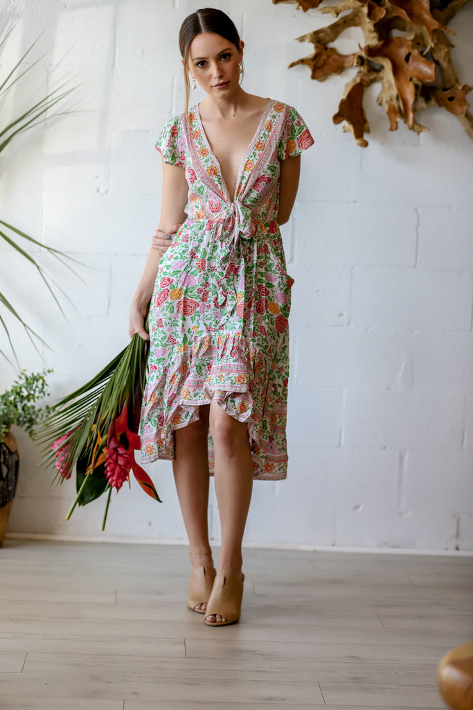 Sunny Days Tie Dress in Blanca Rose