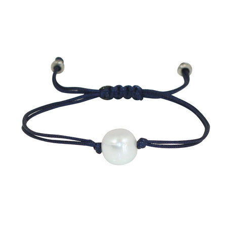 Freshwater Pearl Splash Bracelet in Navy