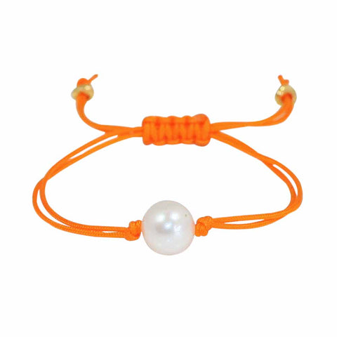Freshwater Pearl Splash Bracelet in Orange