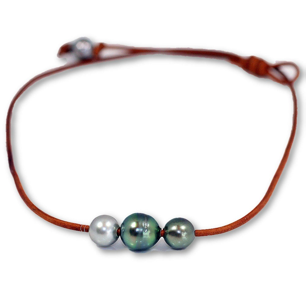 Triple Tahitian Pearl Slide Necklace -- Sea Lustre Jewelry - 1