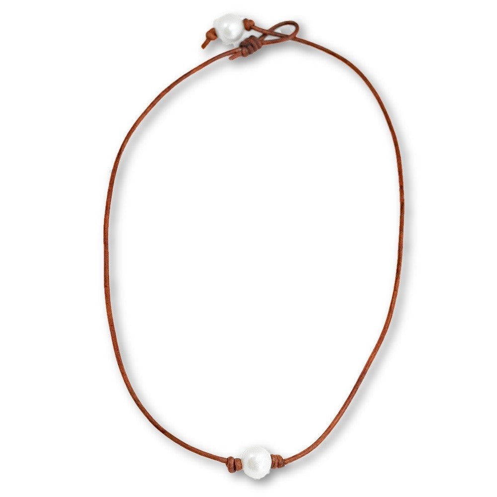 Leather Surfer Necklace in Freshwater Pearl -- Sea Lustre Jewelry - 1