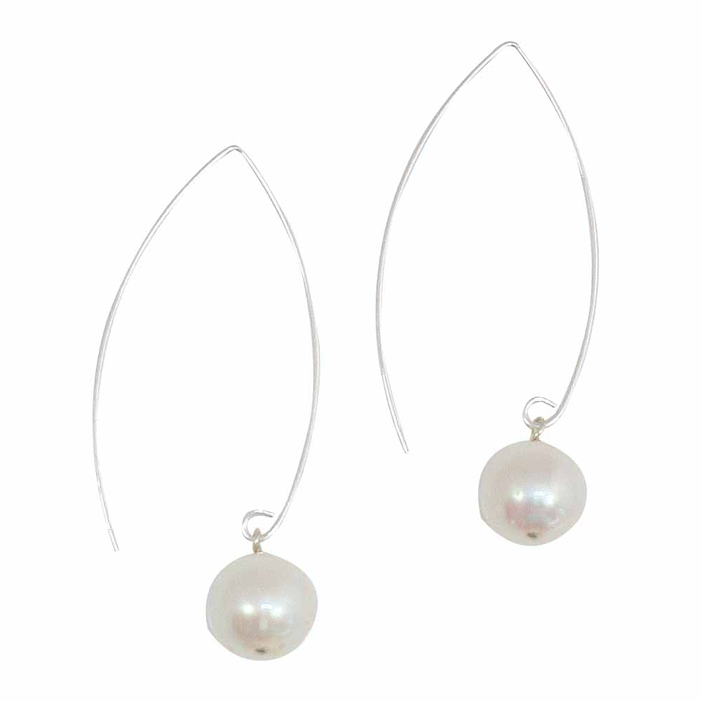 Sterling Silver Round Freshwater Pearl Threader Earrings