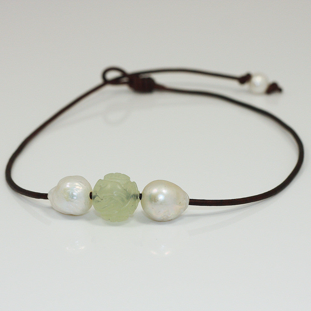 Hand Carved Jade & Baroque Pearl Necklace -- Sea Lustre Jewelry - 1