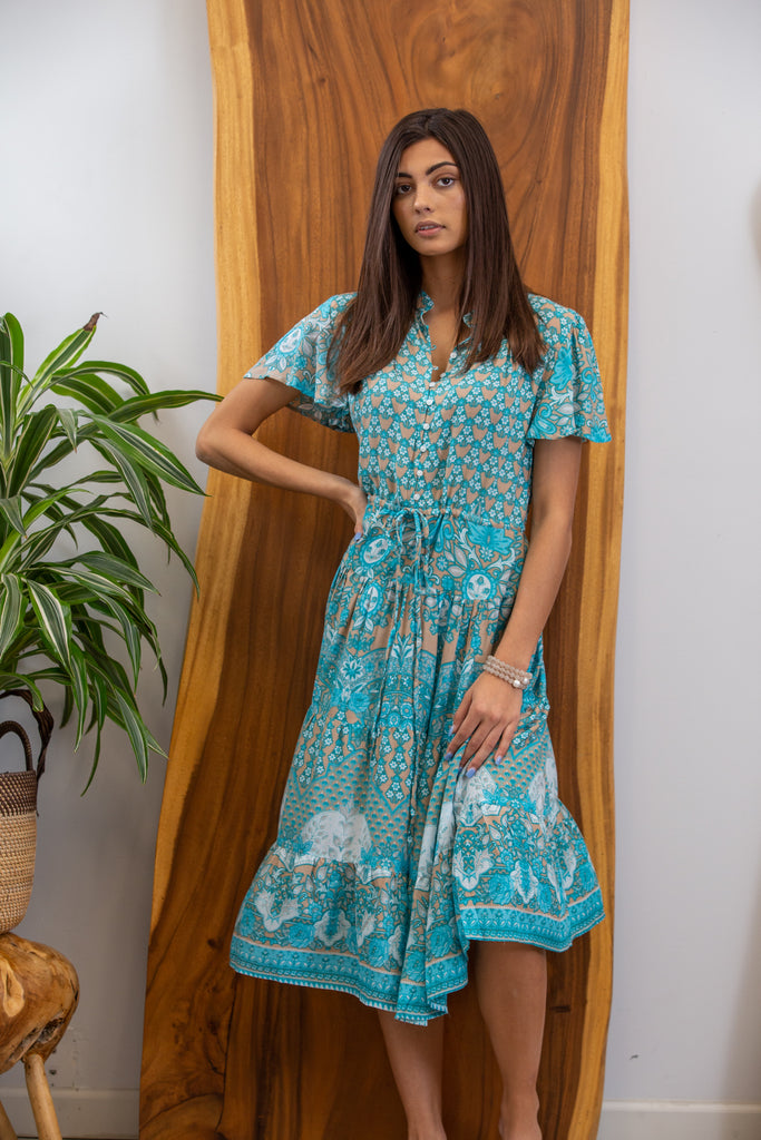 Madison Midi Dress in India Aqua