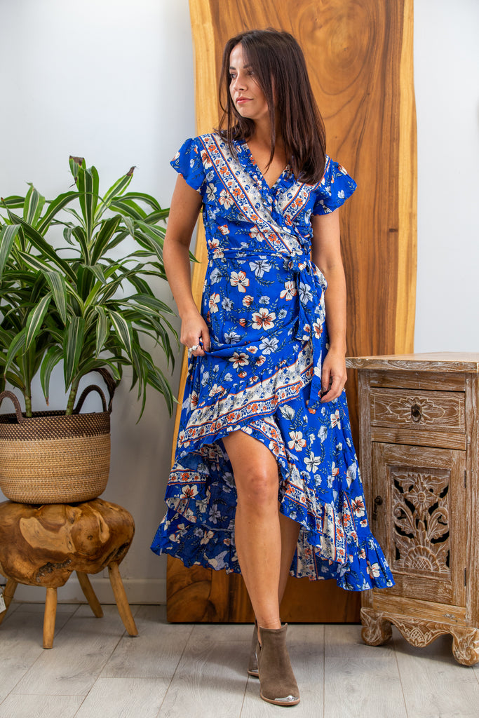 Havana Maxi Wrap Dress in Royal Hibiscus