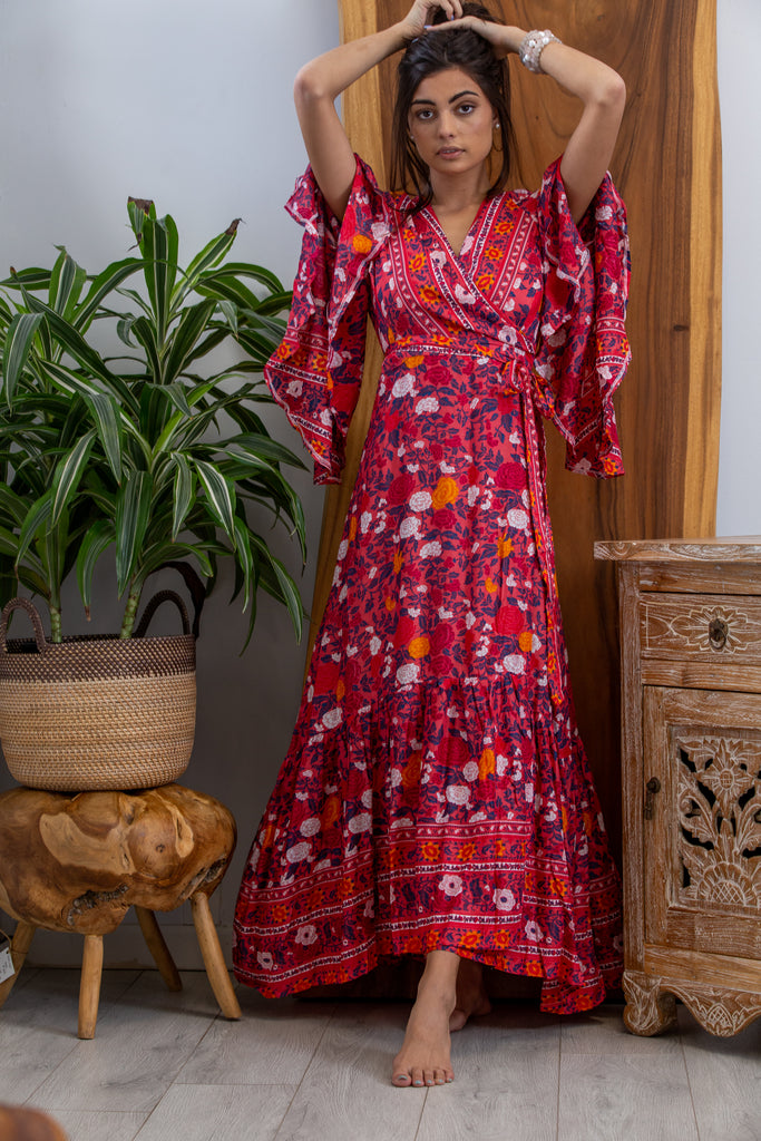 Gilli Kimono Dress in Ruby Rose