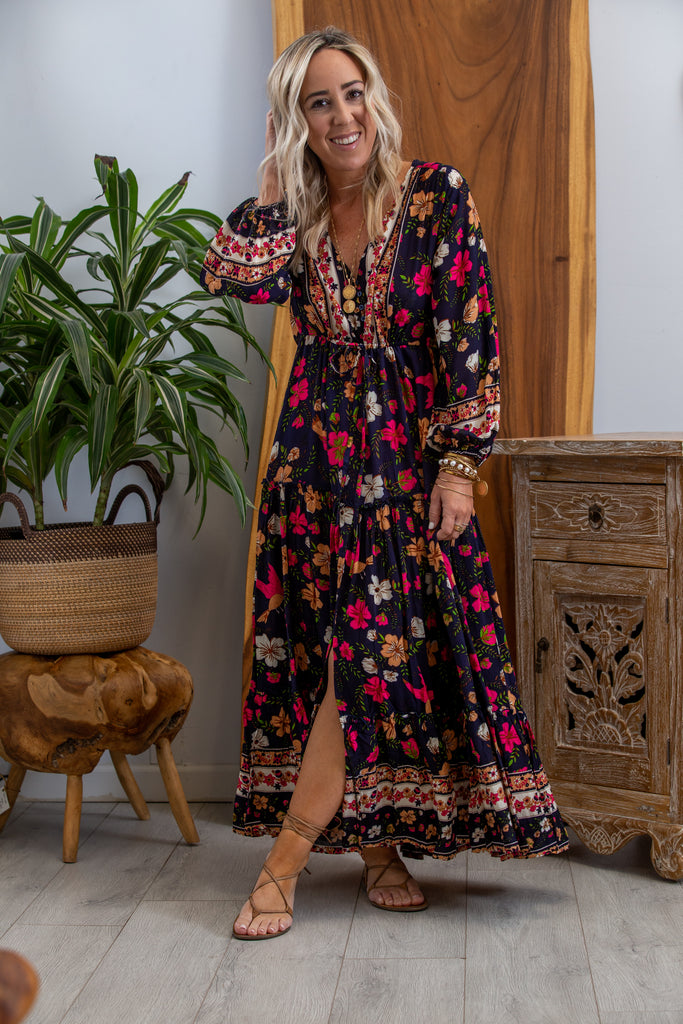 Indah Maxi Dress in Navy Hibiscus