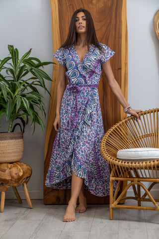 Havana Maxi Wrap Dress in Amethyst