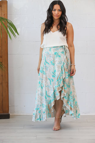 Honey Maxi Wrap Skirt in Blue Heron