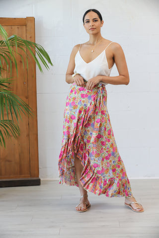 Honey Maxi Wrap Skirt in Bloomin' Bone