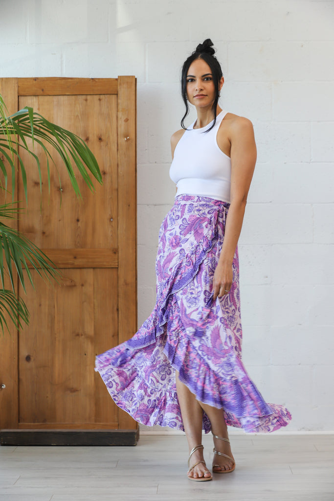 Honey Maxi Wrap Skirt in Lilac Heron