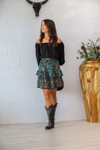 Muse Mini Skirt in Midnight Rosa