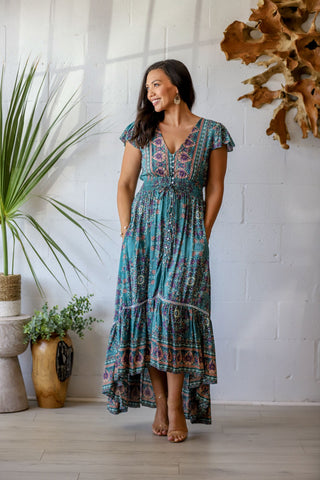 Pacific Breeze Dress in Sage Garden