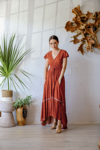 Pacific Breeze Dress in Terracotta