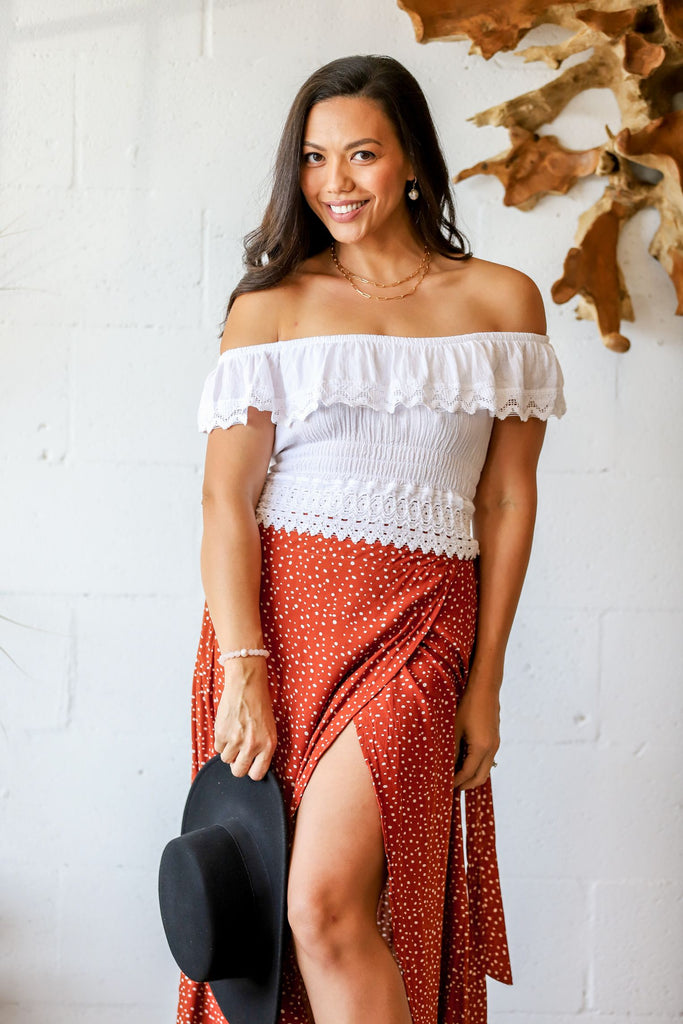 Rio Maxi Wrap Skirt in Terracotta