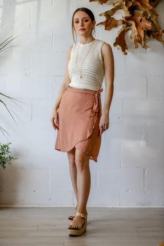 Rio Mini Wrap Skirt in Mauve