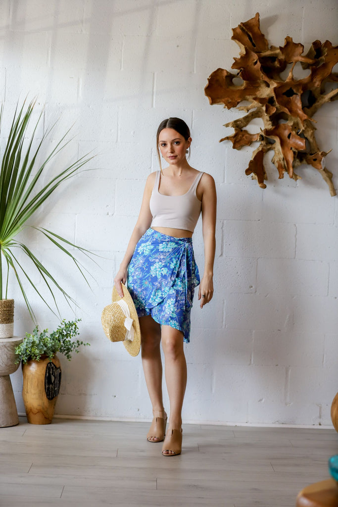 Rio Mini Wrap Skirt in Orchid Azure