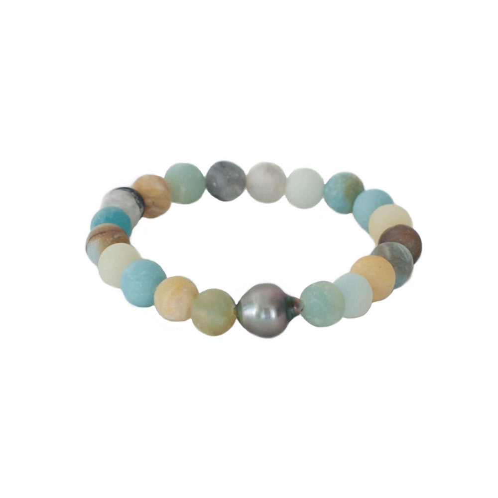 Tahitian Pearl + Matte Amazonite Stretch Bracelet -- Sea Lustre Jewelry
