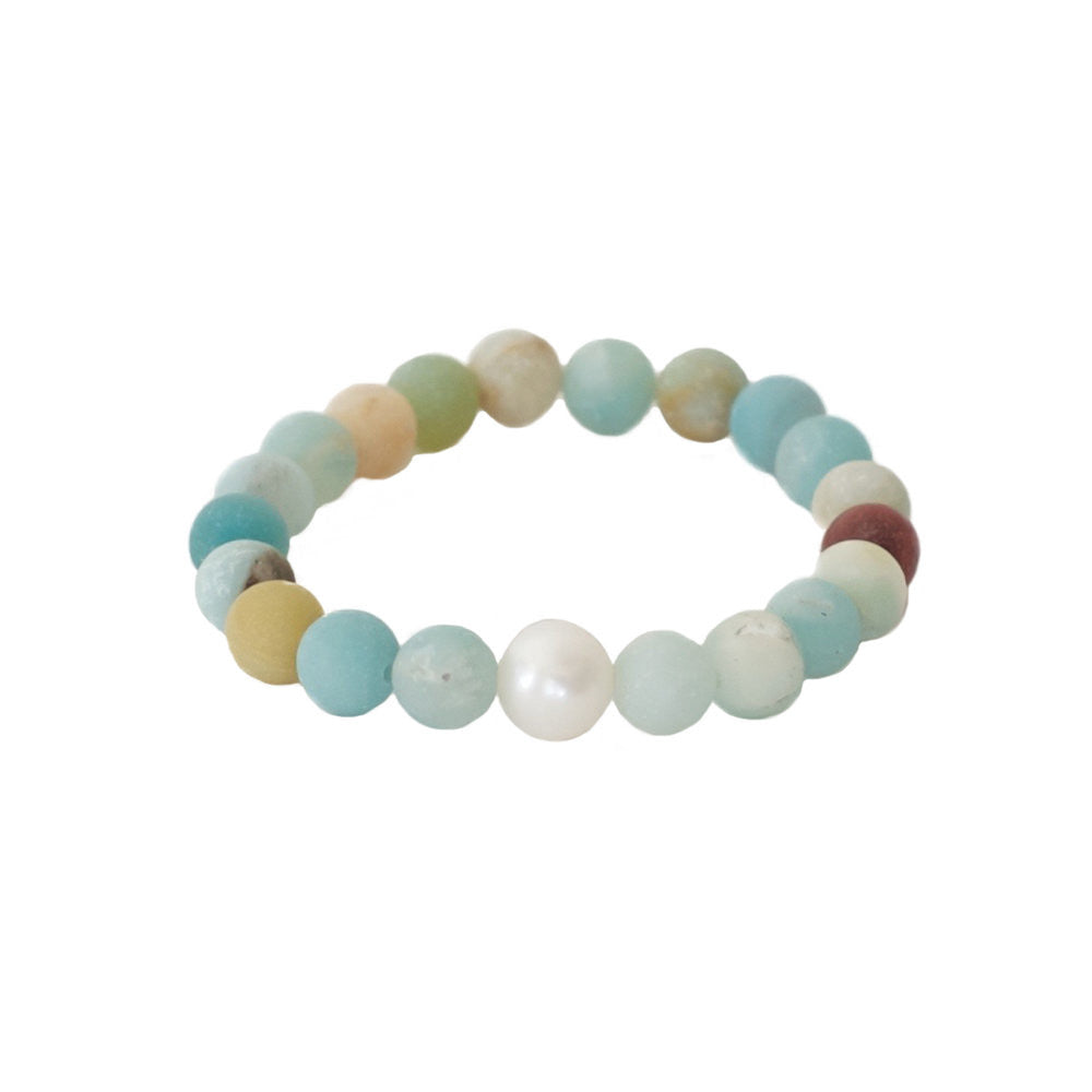 Freshwater Pearl + Matte Amazonite Stretch Bracelet -- Sea Lustre Jewelry