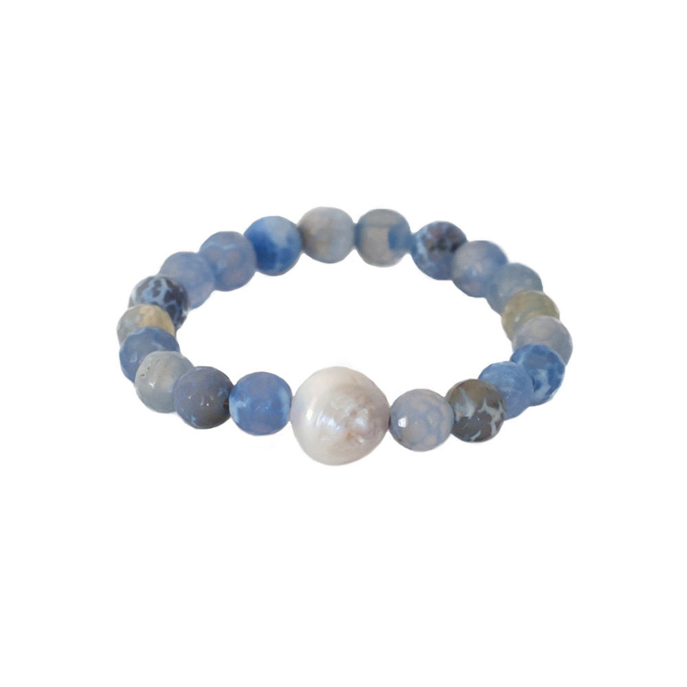 Baroque Freshwater Pearl + Blue Fire Agate Stretch Bracelet