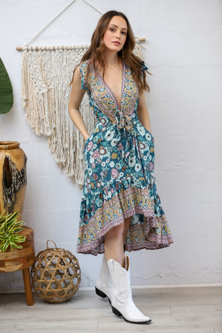 Sunny Days Tie Dress in Ocean